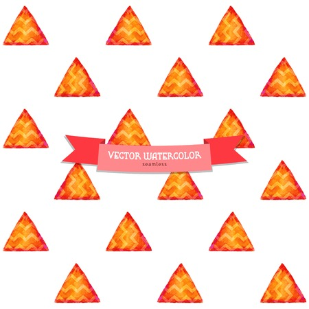 Seamless vector background. Watercolor bright triangles with zigzag. Hand drawing. Illustration