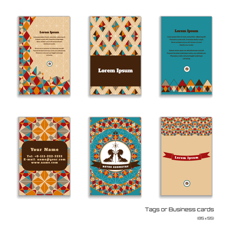complied: Set of six vertical business cards.  Multicolored figures and grid. Beautiful round label with two horses and ribbon. Place for your text. Complied with the standard sizes.