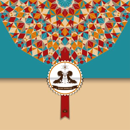 招待状やお祝い用ベクターの封筒。色とりどりのラウンドの幾何学模様。2 つの馬とテキストのリボンと美しいラベルです。