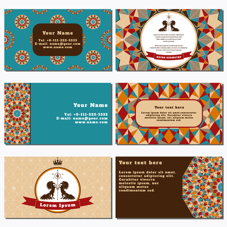 complied: Set of six horizontal business cards.  Multicolored figures and grid. Beautiful round label with two horses and ribbon. Place for your text. Complied with the standard sizes. Illustration