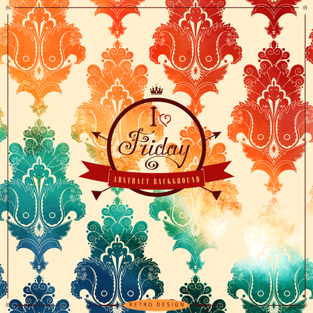 Vintage vector background. Stencils in the form of damask pattern on watercolors substrate. Hand drawing with colored spots and blotches. Beautiful inscription in retro style - I love Friday Illustration