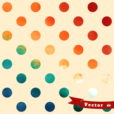Abstract geometric seamless  vector background. Stencils in the form of  circles on watercolors substrate. Hand drawing with colored spots and blotches. Illustration