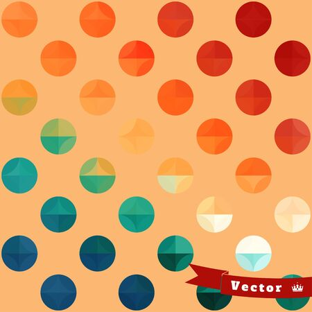 Abstract geometric seamless vector background in vintage style. Multicolored circles.