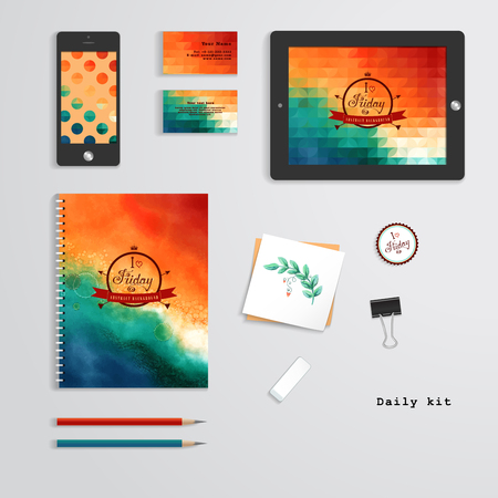 Vector templates. Daily kit. Geometric and watercolor pattern. Tablet computer, phone, business cards, notebook, pencils, eraser, clamp, sticker. Inscription in retro style - I love Friday