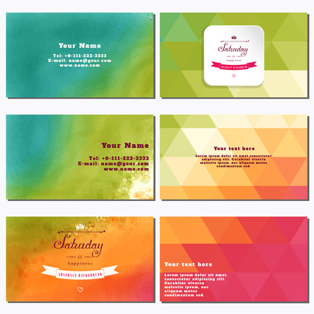 complied: Vector set of six horizontal business cards. Multicolored triangles. Beautiful inscription in retro style - Saturday is happiness. Place for your text. Complied with the standard sizes.