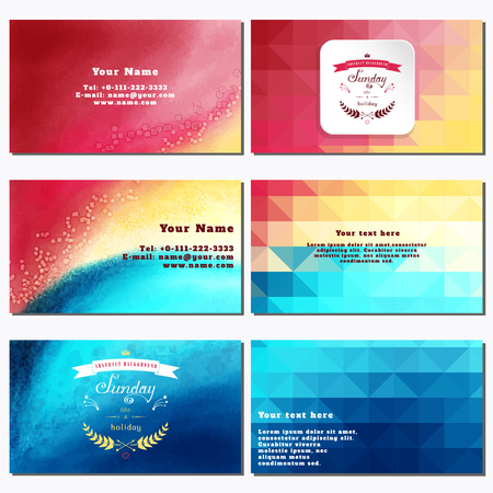 complied: Vector set of six horizontal business cards. Multicolored watercolor and shapes. Beautiful inscription in retro style - Sunday like a holiday. Place for your text. Complied with the standard sizes Illustration
