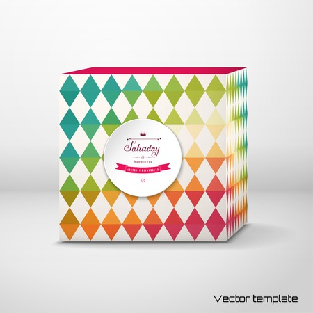 Vector cubic box template. Abstract round frame. Geometric background in vintage style. Multicolored triangles. Beautiful inscription in retro style - Saturday is happiness.
