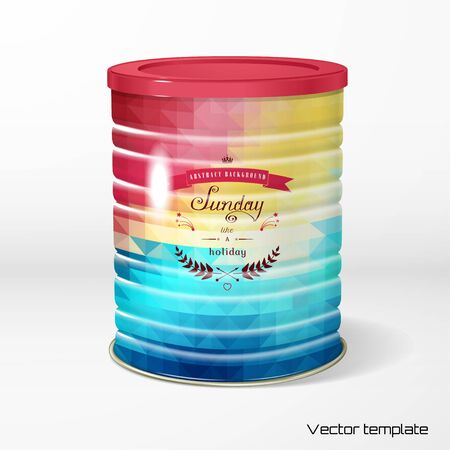 Vector object. Round tin packaging. Tea, coffee, dry products. Multicolored geometric ornament. Round frame. Beautiful inscription in retro style - Sunday like a holiday. Realistic shadow