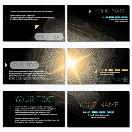 complied: Set of six horizontal business cards. Abstract glowing figure and star. Complied with the standard sizes.