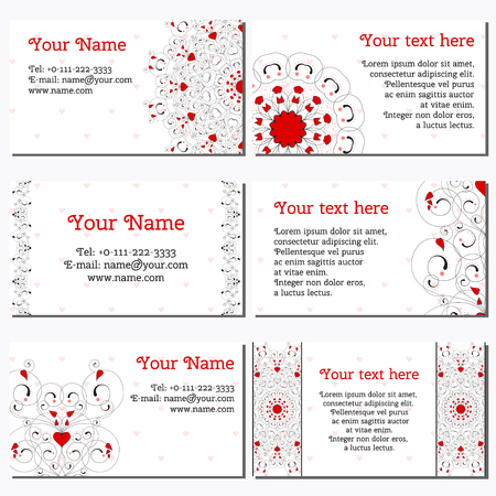 complied: Set of six horizontal business cards. Abstract pattern with curls and hearts. Complied with the standard sizes. Illustration