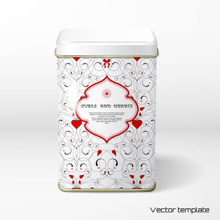 Vector object. Square tin packaging. Tea, coffee, dry products. Abstract pattern with curls and hearts. Place for your text.