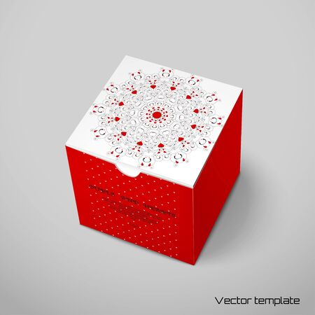 Vector cubic box template. Abstract round pattern with curls and hearts. Place for your text.