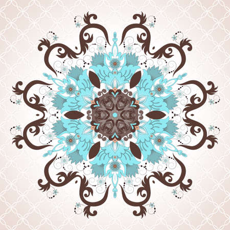 Vector round hexagonal floral pattern in vintage style. Seamless delicate background. Illustration