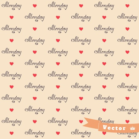 red ribbon week: Simple vector seamless background. Beautiful word Monday and hearts. Illustration