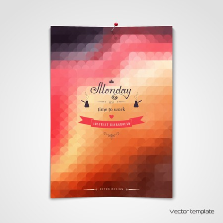 Vector template sheet of paper pinned to the wall geometric beautiful inscription monday its time to work perfect for greetings invitations announcements or cover design m4hsunfo