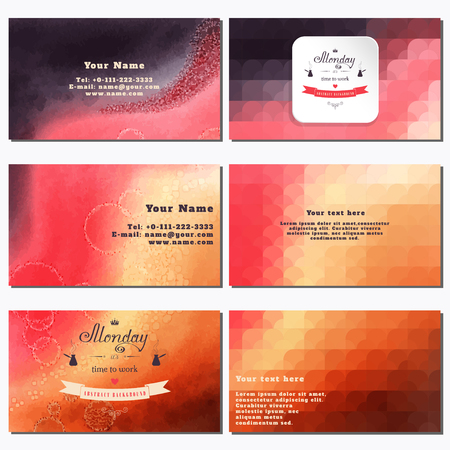 complied: Vector set of six horizontal business cards. Multicolored watercolor and shapes. Beautiful inscription in retro style -Monday its time to work. Place for your text. Complied with the standard sizes Illustration