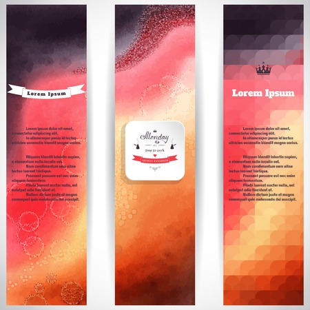 web site design template: Vector set of three vertical banners. Multicolored watercolor and shapes. Beautiful inscription in retro style -Monday its time to work.  Place for your text.