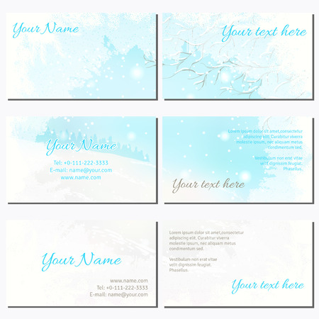 complied: Set of six horizontal business cards.Frosted glass and winter landscape. Complied with the standard sizes.