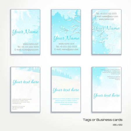 complied: Set of six vertical business cards.Frosted glass and winter landscape. Complied with the standard sizes. Illustration