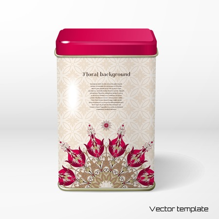 Vector object. Square tin packaging. Tea, coffee, dry products. Beautiful round floral pattern in vintage style. Flowers with leaves and berries. Simple delicate ornament. Place for your text.