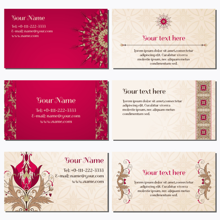 complied: Set of six horizontal business cards. Beautiful floral pattern in vintage style. Flowers with leaves and berries. Simple delicate ornament. Place for your text. Complied with the standard sizes.