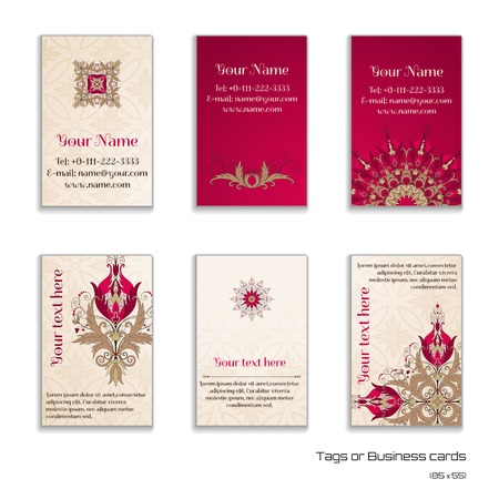 complied: Set of six vertical business cards. Beautiful floral pattern in vintage style. Flowers with leaves and berries. Simple delicate ornament. Place for your text. Complied with the standard sizes.