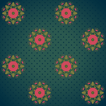 red wallpaper: Vector seamless background. Beautiful floral pattern and polka dots. Bright colors and dark background.