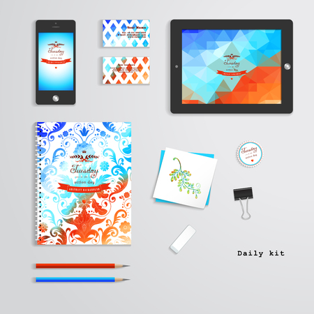 red ribbon week: Vector templates. Daily kit. Geometric and watercolor pattern. Tablet computer, phone, business cards, notebook, pencils, eraser, clamp, sticker. Inscription in retro style. Illustration