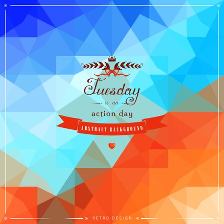 red ribbon week: Abstract geometric vector background in vintage style. Multicolored shapes. Beautiful inscription in retro style. Illustration