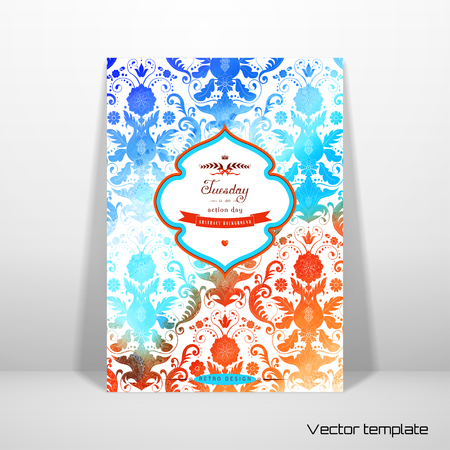 Vector card template. Stencils in the form of damask pattern on watercolors substrate. Hand drawing with colored spots and blotches. Beautiful inscription in retro style.