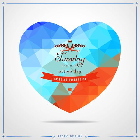 red ribbon week: Vector illustration in the form of a heart. Abstract geometric background in vintage style. Multicolored shapes. Beautiful inscription in retro style. Illustration