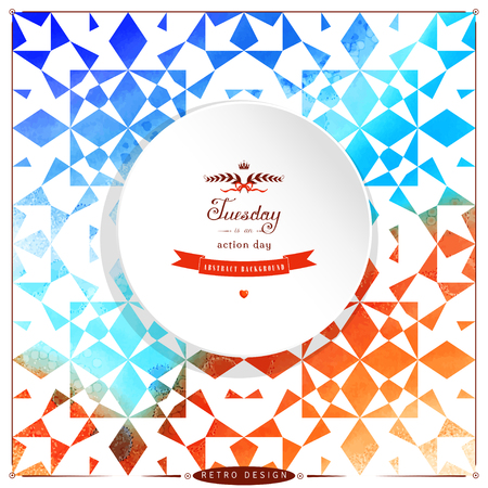 Abstract vector round frame. Stencils in the form of abstract geometric shapes on watercolors substrate. Hand drawing with colored spots. Beautiful inscription in retro style.