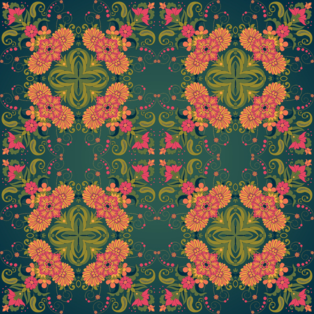 red wallpaper: Vector seamless background. Beautiful floral damask pattern in vintage style. Bright colors and dark background. Illustration