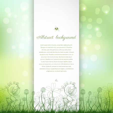 Abstract vector background. Spring or summer design. Clover and strawberry plants. Bumble bee and ladybug. Place for your text. Zdjęcie Seryjne - 88347442