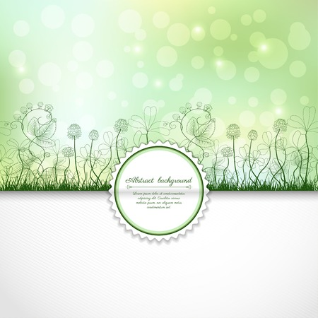 벡터 초대장 또는 축 하 봉투입니다. 봄 또는 여름 디자인입니다. 클로버와 딸기 식물. 엉망으로 꿀벌과 무당 벌레. 텍스트 배치합니다.