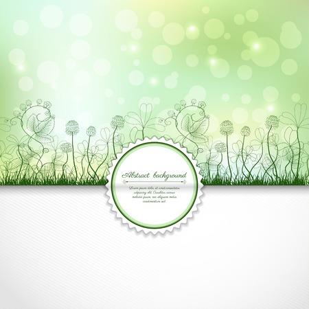 Vector envelop voor uitnodigingen of gefeliciteerd. Lente of zomer ontwerp. Klaver en aardbeiplanten. Bumble Bee en lieveheersbeestje. Plaats voor uw tekst.