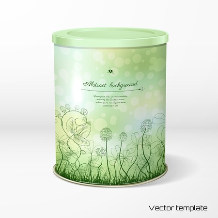 Vector object. Round tin packaging. Tea, coffee, dry products. Spring or summer design. Clover and strawberry plants. Bumble bee and ladybug. Place for your text. Realistic shadow.