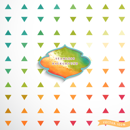 Abstract geometric seamless vector background in vintage style. Multicolored triangles. Watercolor figured frame for your text. Illustration
