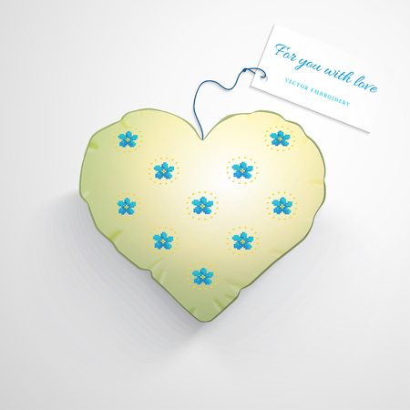 Vector template. Heart pillow. Pattern imitates embroidery cross stitch and beads. Beautiful flowers forget-me-not. Wedding or Valentines Day. Realistic shadows. Label for your text.