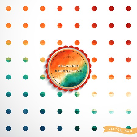Abstract geometric seamless vector background in vintage style. Multicolored circles. Watercolor frame for your text. Illustration