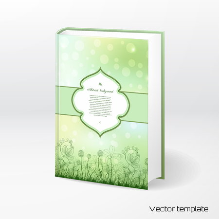 Vector template book cover. Spring or summer design. Clover and strawberry plants. Bumble bee and ladybug. Figured  frame for your text. Realistic shadow.