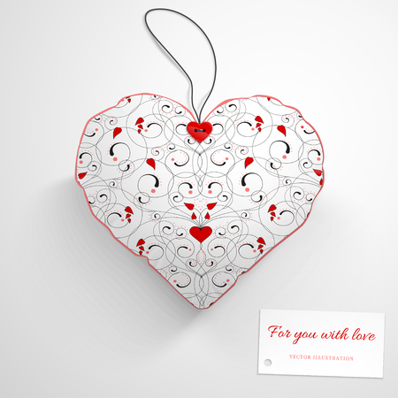 Vector template. Heart pillow. Abstract pattern with curls and hearts. Wedding or Valentines Day. Realistic shadows. Label for your text.