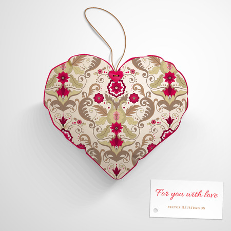 Vector template. Heart pillow. Beautiful floral pattern in vintage style. Wedding or Valentines Day. Realistic shadows. Label for your text.