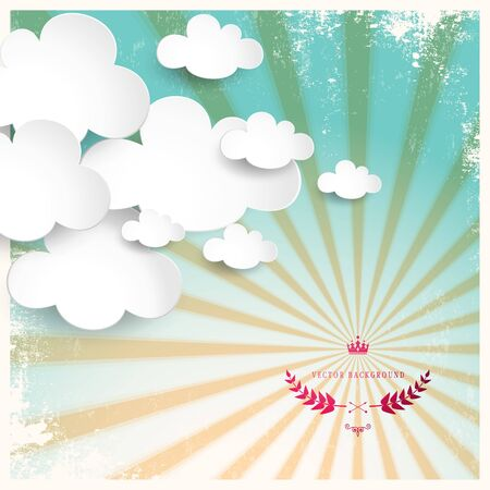 Vintage vector poster in retro style. Old background with sunrays. Paper clouds. Can be used as an information bubble. Place for your text. Illustration