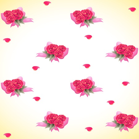 Seamless vector background with roses and petals.