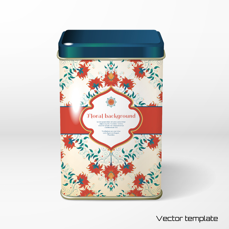 Vector object. Square tin packaging. Tea, coffee, dry products. Beautiful floral pattern. Bright colors and dark background. Imitation watercolor gradients. Place for your text. Realistic shadows