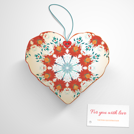 Vector template. Heart pillow. Beautiful floral pattern. Imitation watercolor gradients. Wedding or Valentines Day. Realistic shadows. Label for your text. Illustration