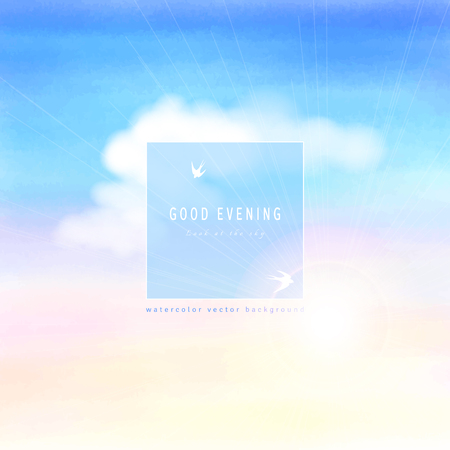 Abstract vector background. Handmade watercolor. White cloud, sun and sky. Frame for your text with silhouettes of swallows.
