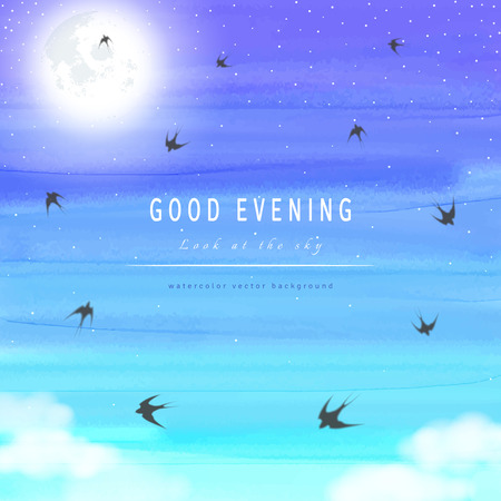 Abstract vector background. Handmade watercolor. White cloud, moon, sky and swallows. Place for your text.