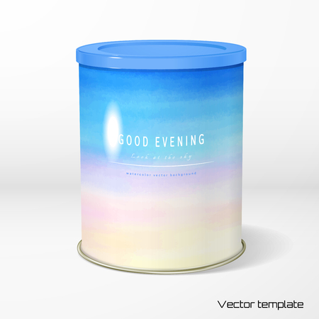 A Vector object. Round tin packaging. Tea, coffee, dry products. Handmade watercolor. Place for your text.